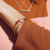 Raw Rose Quartz, Citrine, and Garnet Cuff by Dani Barbe