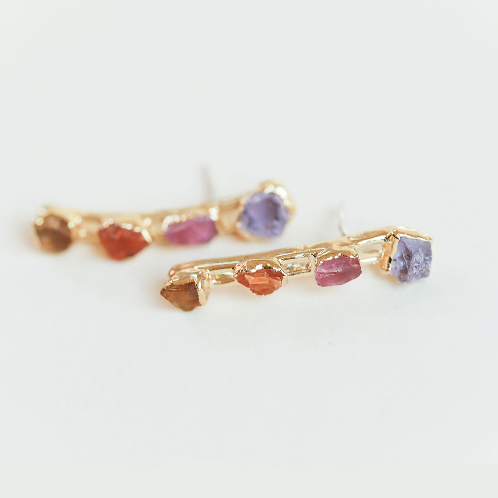 Amethyst, Carnelian and Pink Tourmaline Crystal Ear Climbers