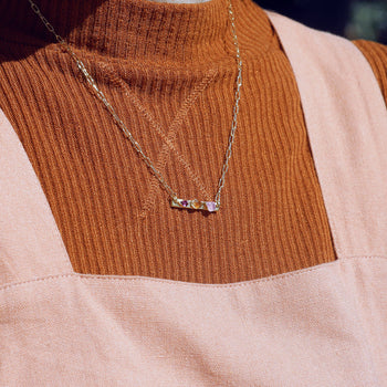 Rose Quartz and Garnet Bar Necklace