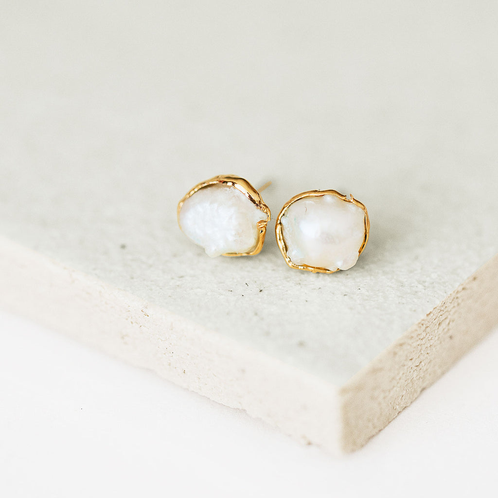 Genuine Pearl Studs by Dani Barbe