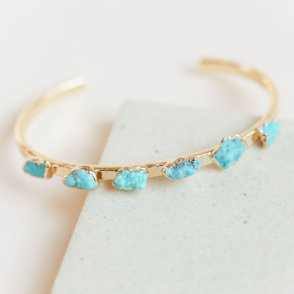 An eye-catching natural turquoise cuff bracelet that's better than ever.