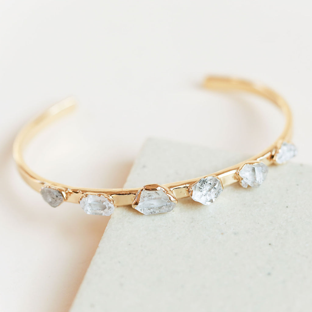 This Herkimer diamond cuff bracelet is eye-catching and designed to get you compliments!