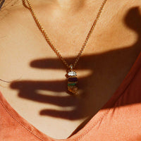 Colorful raw crystal necklace by Dani Barbe