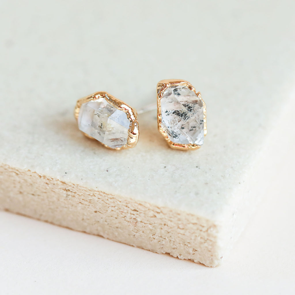 Herkimer Diamond Gold Studs by Dani Barbe