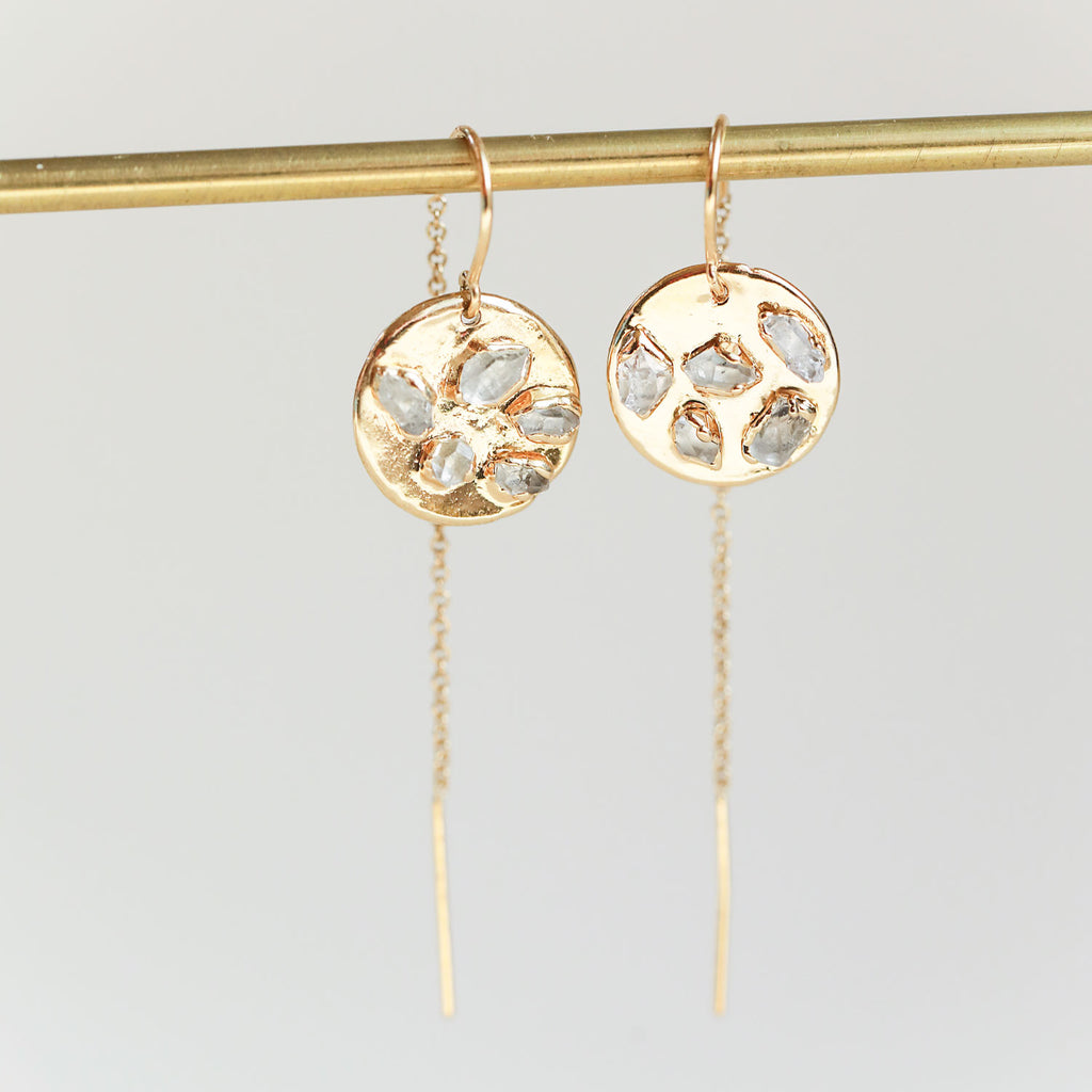 Circle threader earrings with Herkimer diamonds - These earrings are lightweight, perfect for sensitive ears, and we love how they playfully swing while you wear them!