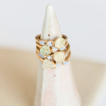 Hiddenite, Opal and Onyx Cocktail Ring