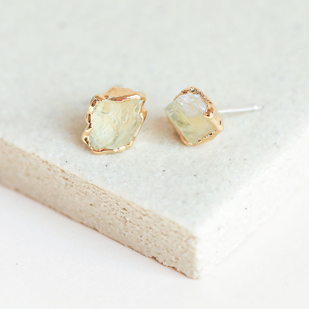 Hiddenite stud earrings are meant for a true gemstone lover.