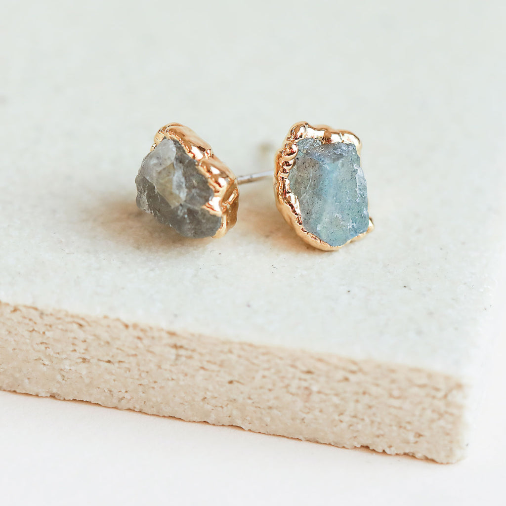 Raw Labradorite stud earrings by Dani Barbe