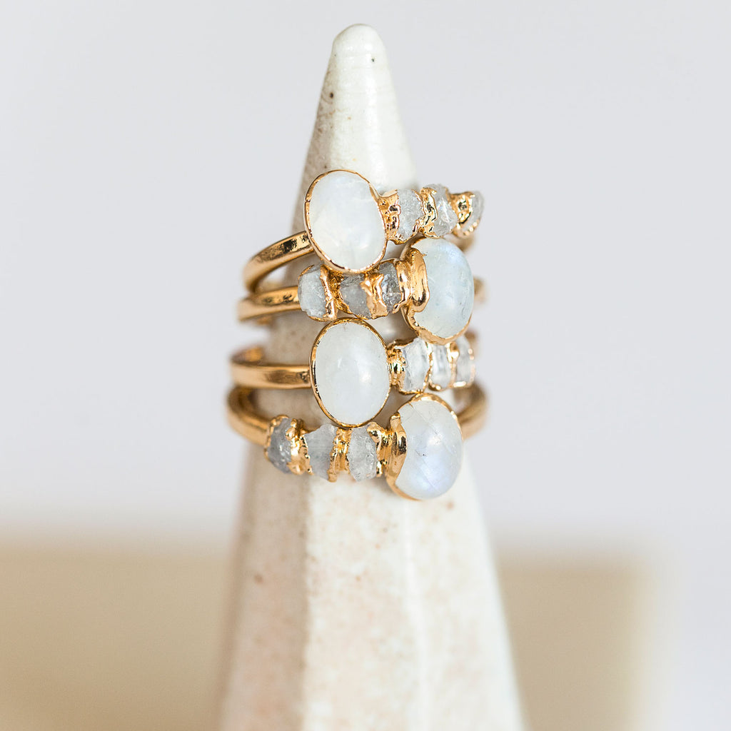June birthstone ring with raw moonstones - We've handcrafted a raw crystal cocktail ring with a mix of polished moonstone and delicate raw moonstones.