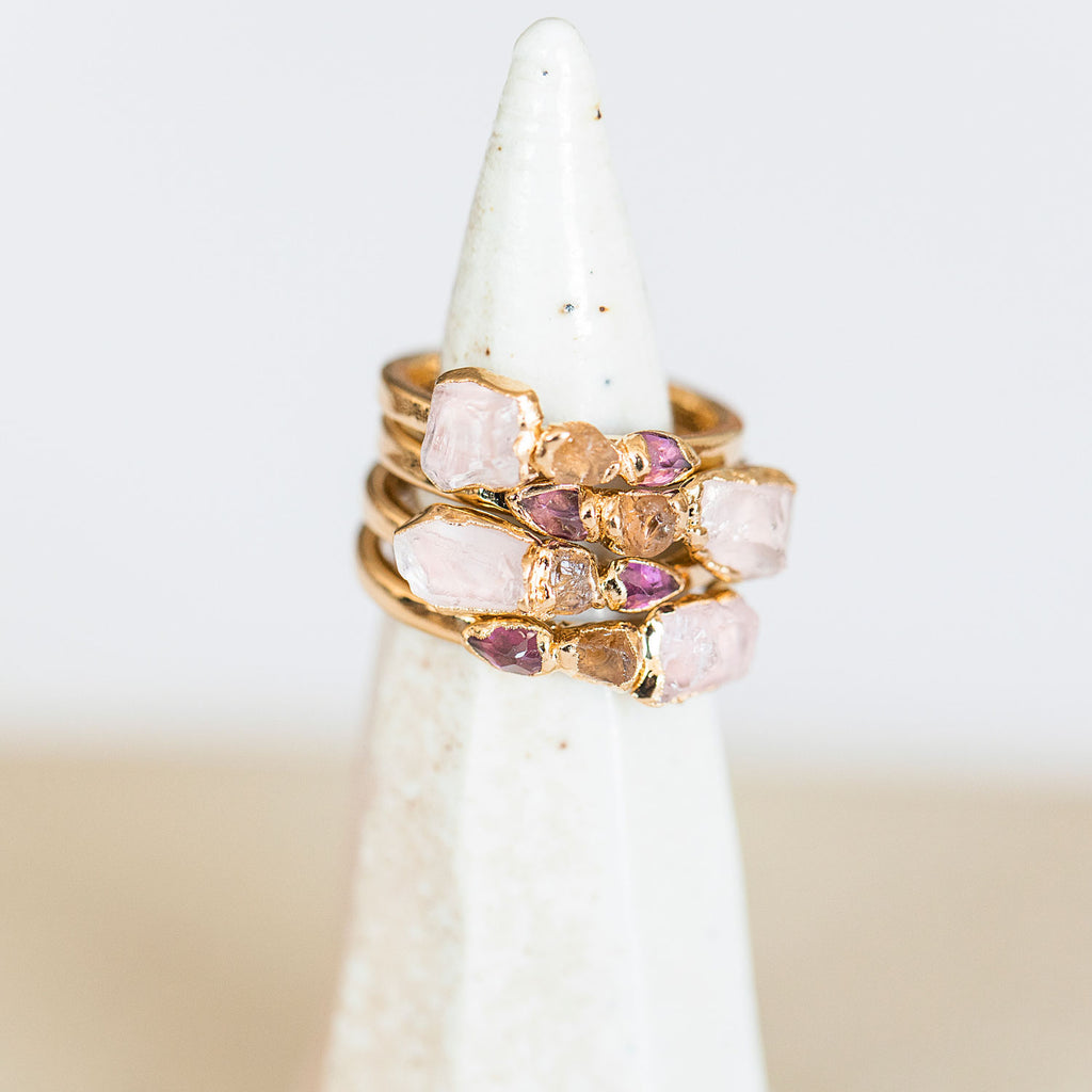 Morganite and garnet ring with natural stones by Dani Barbe