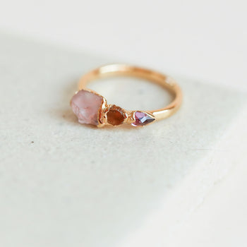 Morganite and Garnet Cocktail Ring