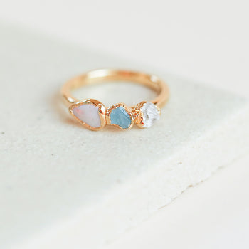 Opal Aquamarine Quartz Ring