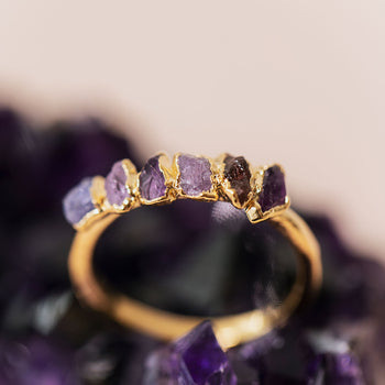 Purple Ombré Birthstone Ring