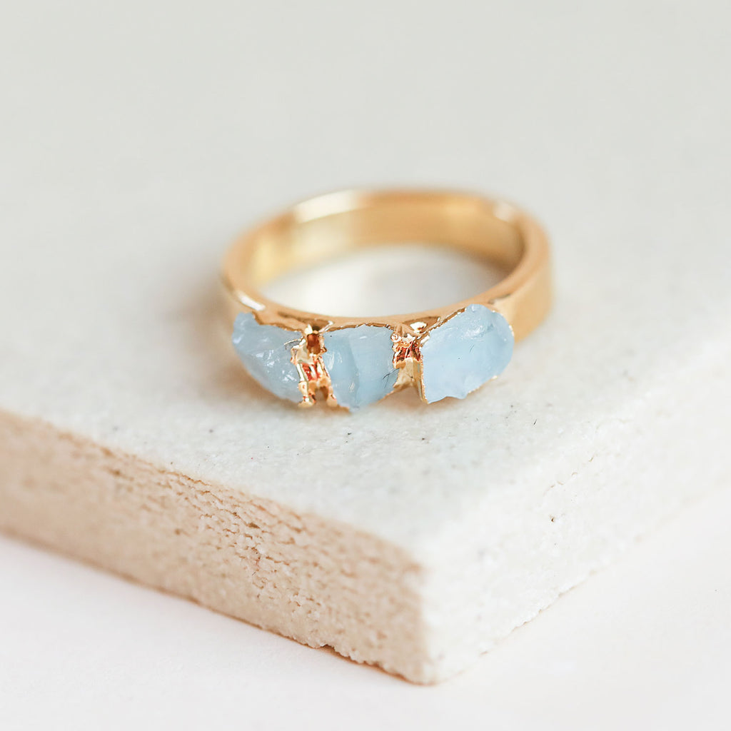 Raw aquamarine stone ring - Our aquamarine stackable ring is the perfect fit for a March birthday, or for the girl who loves the cool blue vibes of aquamarine.