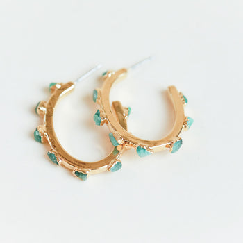 Emerald Flattened Hoops