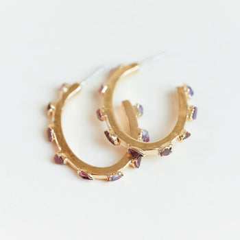Tourmaline, Garnet, and Ruby Flattened Hoops