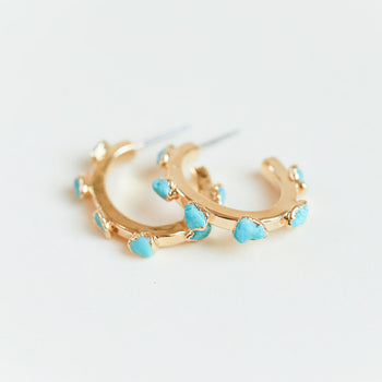 Turquoise Flattened Hoops