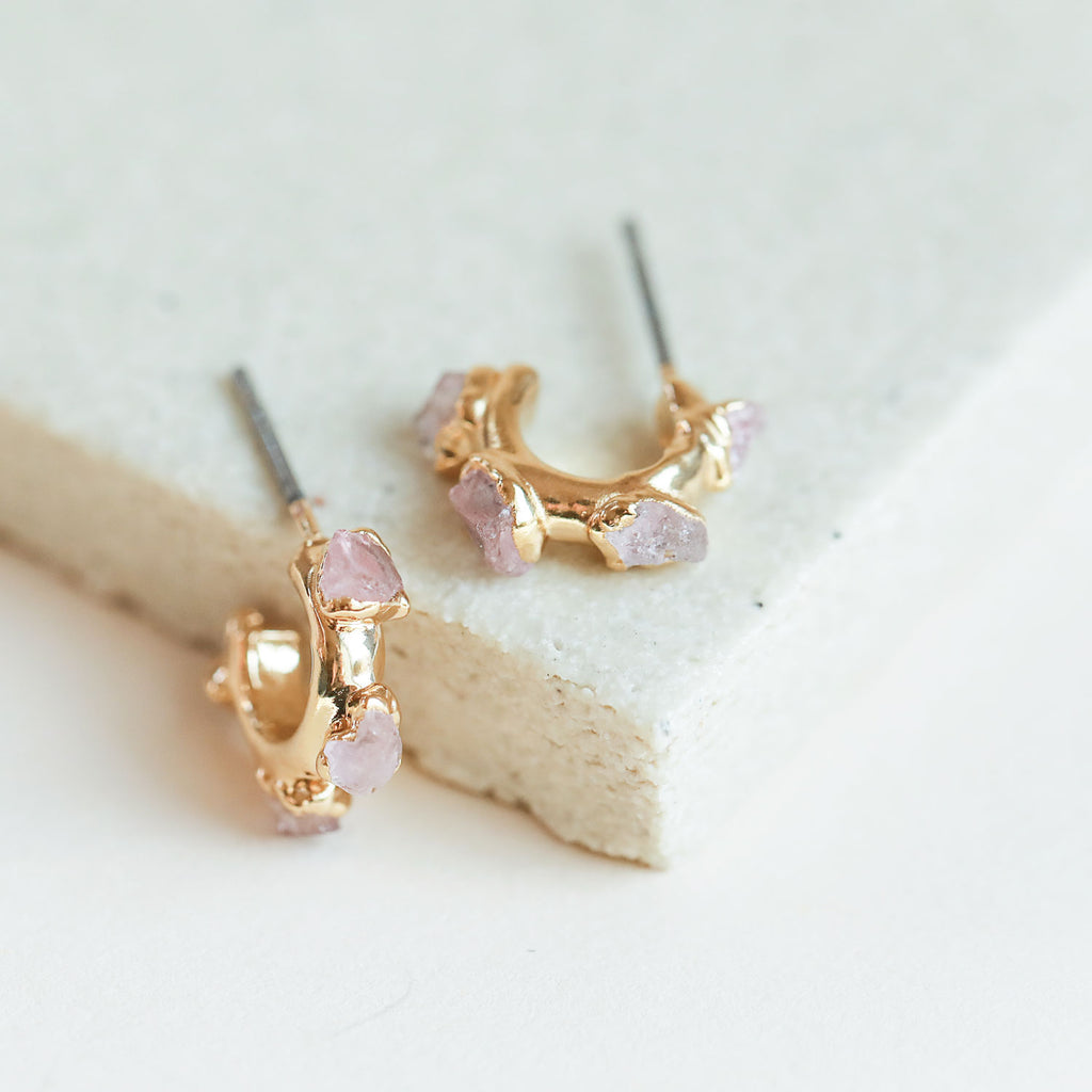 Rose quartz hugger earrings by Dani Barbe