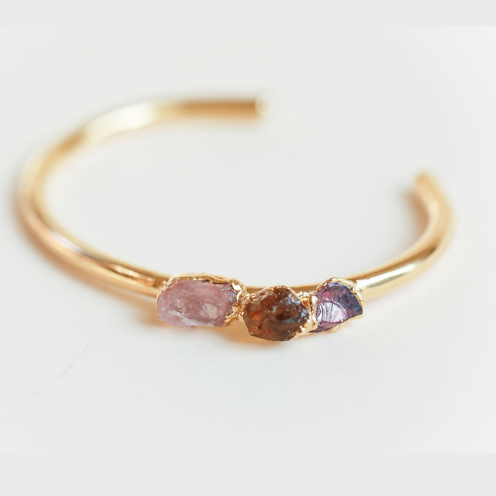 Rose quartz, citrine and garnet bangle by Dani Barbe