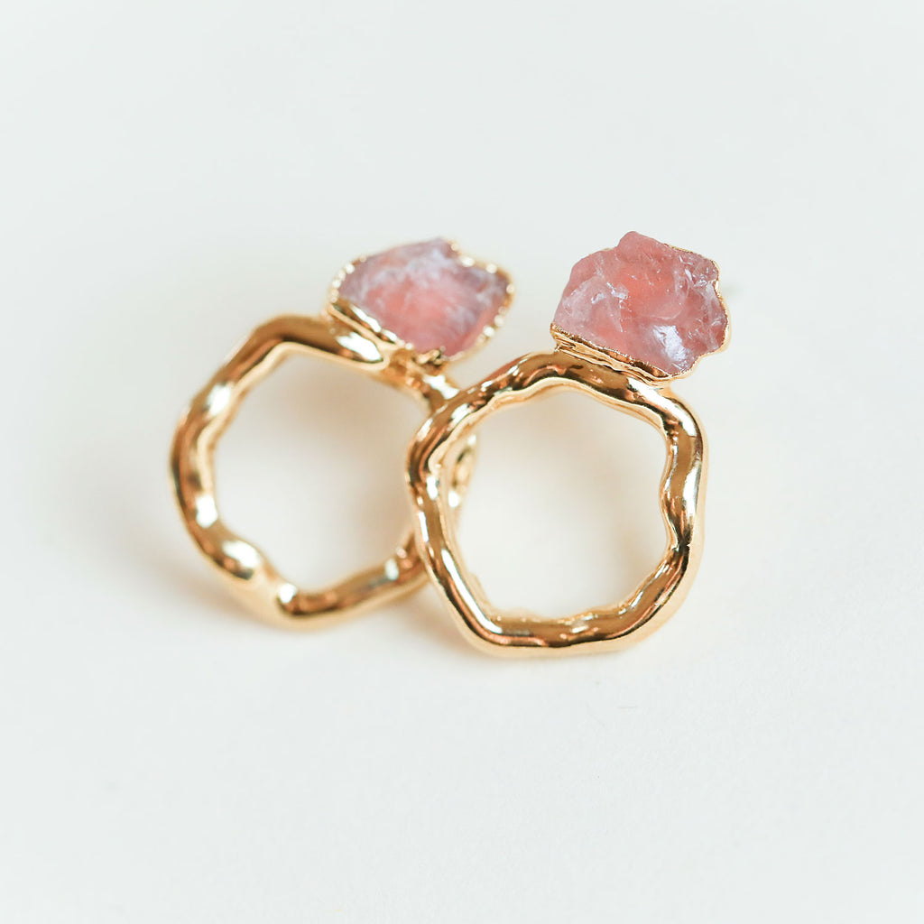 Rose Quartz halo hoops by Dani Barbe