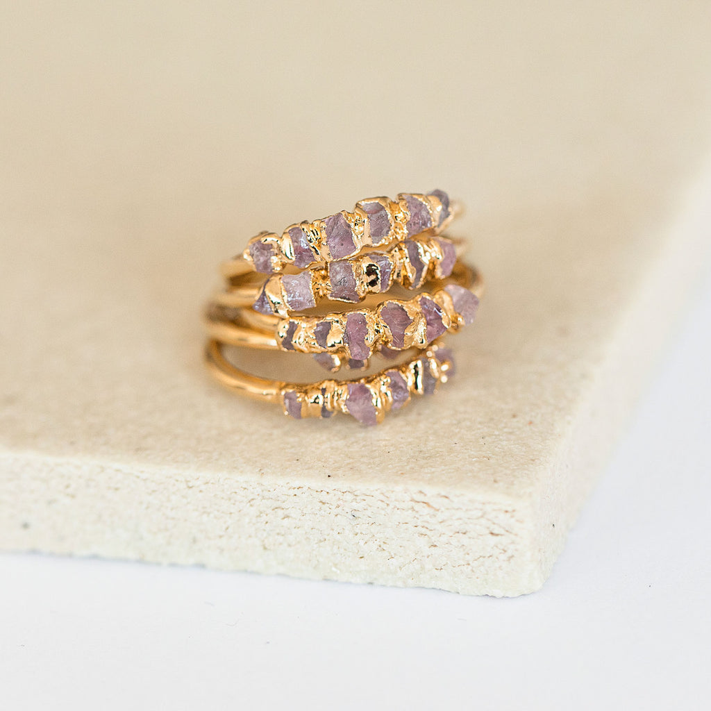 Raw rose quartz rings with natural stones by Dani Barbe