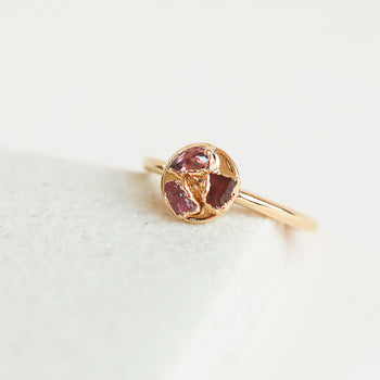Tourmaline, Garnet, Ruby Sequin Ring