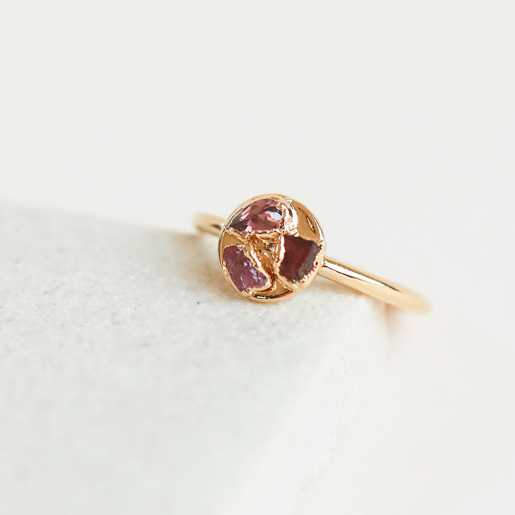 Pink Tourmaline, Garnet, and Ruby Sequin Ring by Dani Barbe