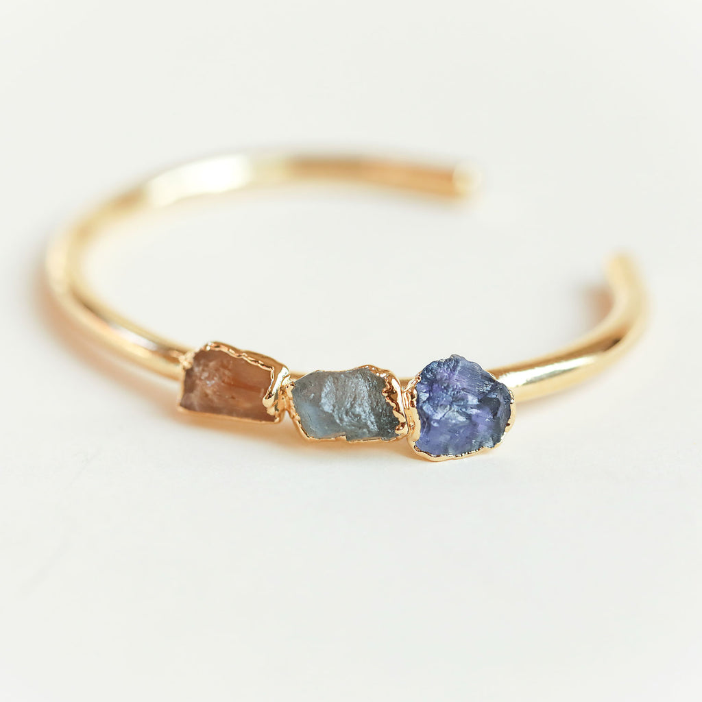 Topaz, labradorite and iolite cuff bracelet by Dani Barbe