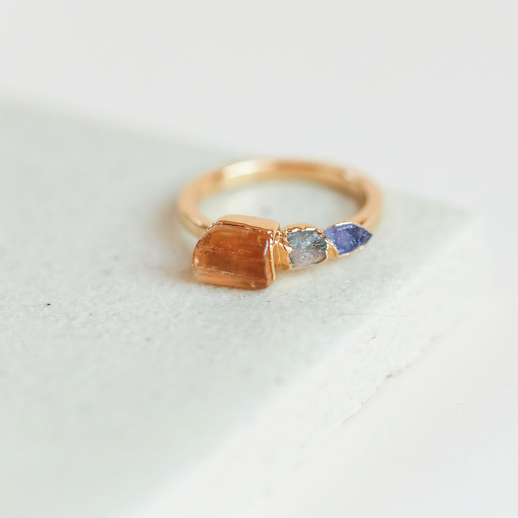 Topaz, labradorite, and iolite ring by Dani Barbe