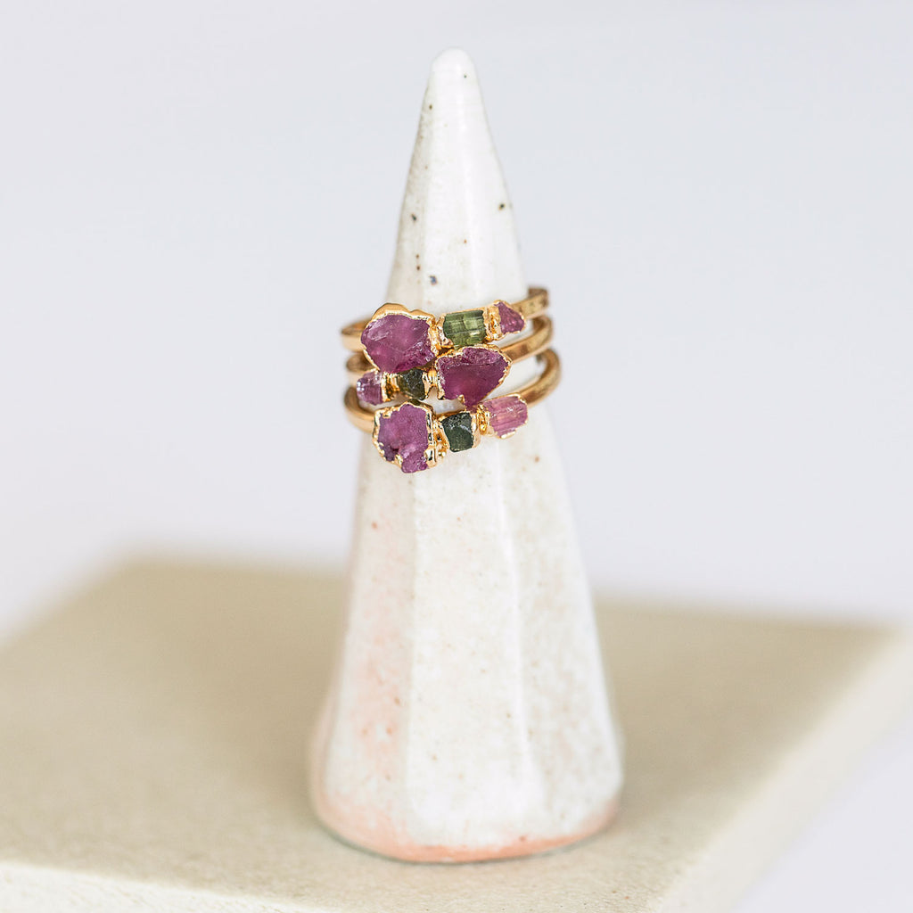 Tourmaline Cocktail Rings Stacked