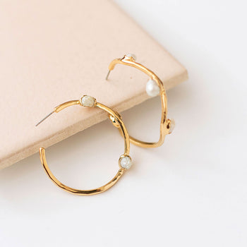 Pearl Wave Hoops