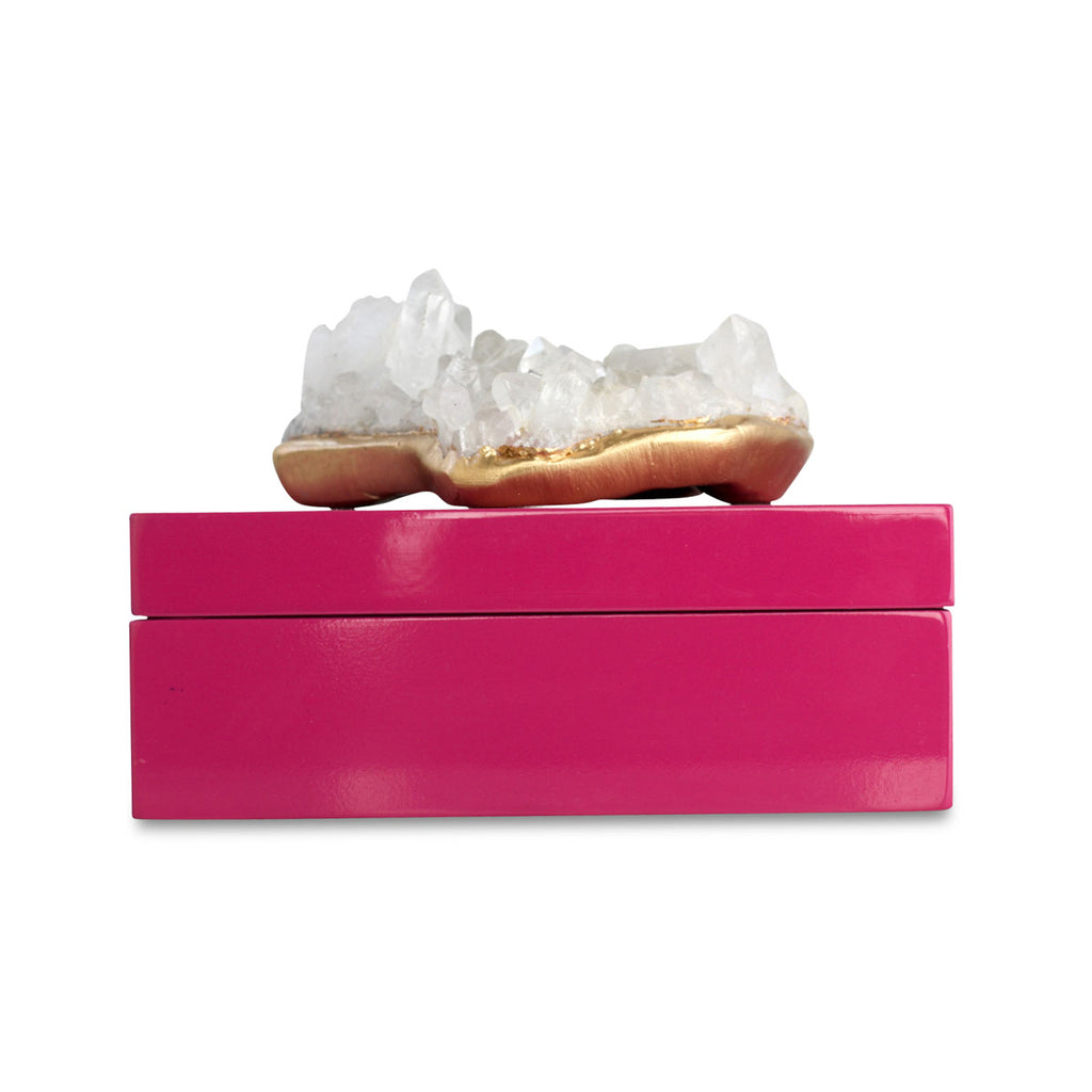 Quartz cluster pink lacquer box by Dani Barbe