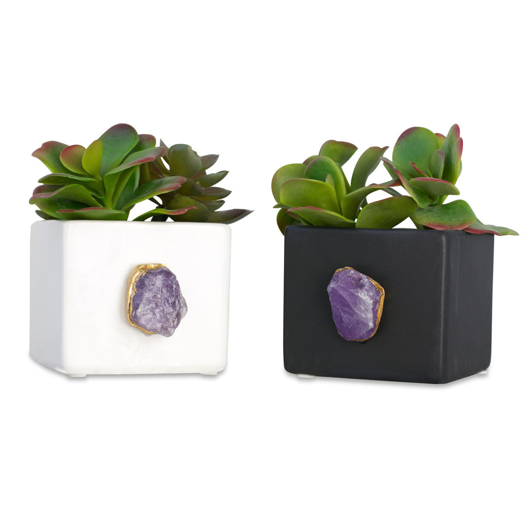 Tumbled Amethyst Planter