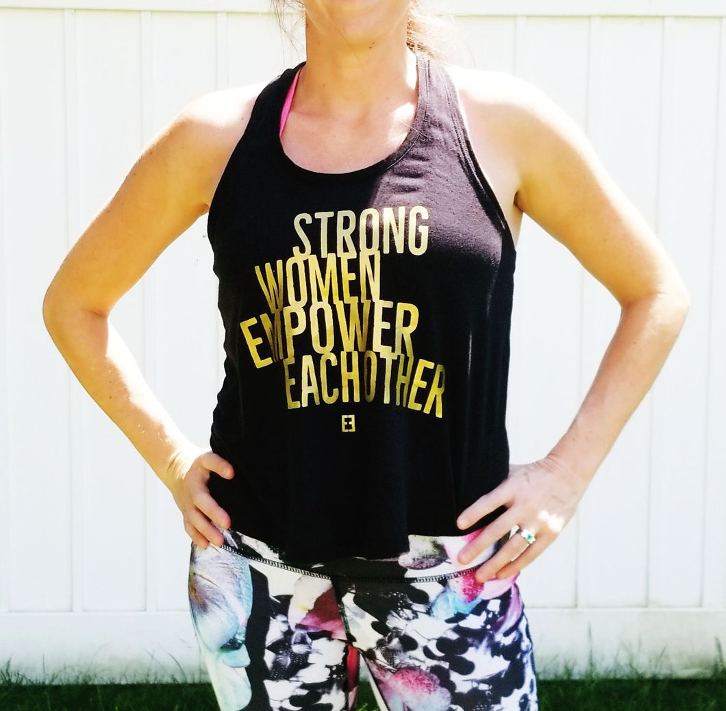 Strong Women Empower Each Other Tank Top - Black Twist Back with Gold