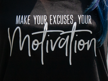 Make your Excuses your Motivation Flowy Tank Top - Black with White