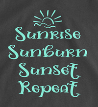Sunrise Sunburn Sunset Repeat Tank Top - Black with Teal