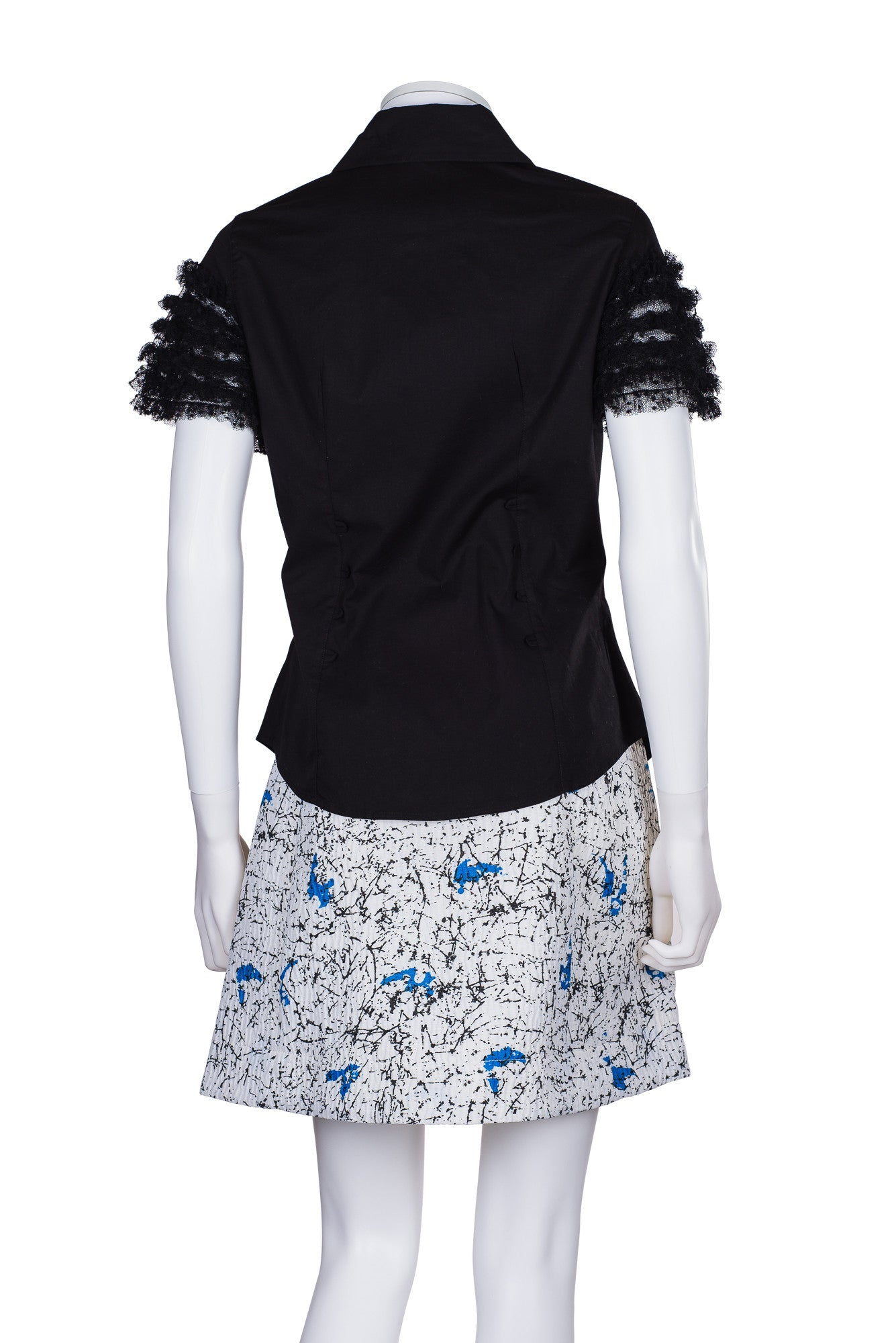CARVEN Wrap-Effect Printed Cloqué Mini Skirt