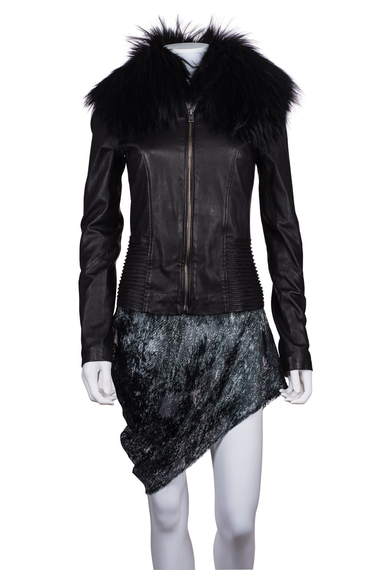 HARRODS Leather Jacket With Fox Collar