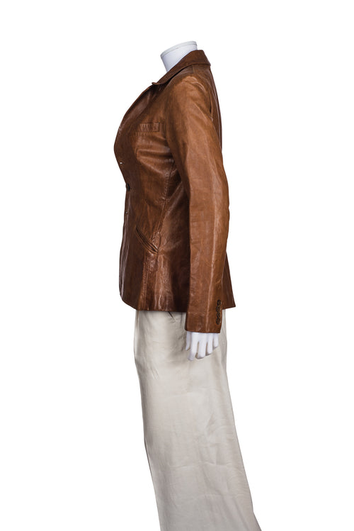 RALPH LAUREN Distressed Leather Blazer