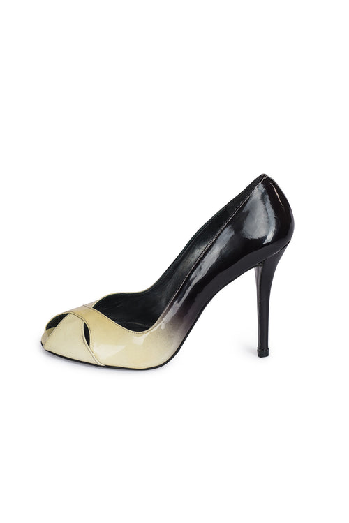 STUART WEITZMAN Multi Color Patent Leather Peep Toe Sandals