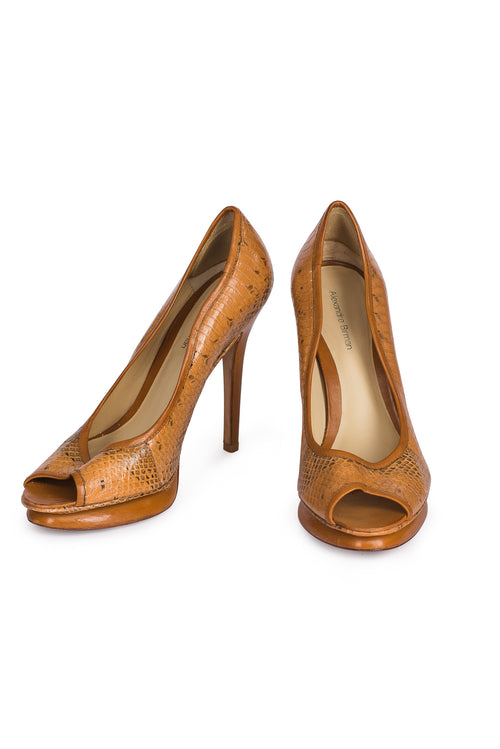 ALEXANDRE BIRMAN Python Leather Platform Peep Toe Pumps