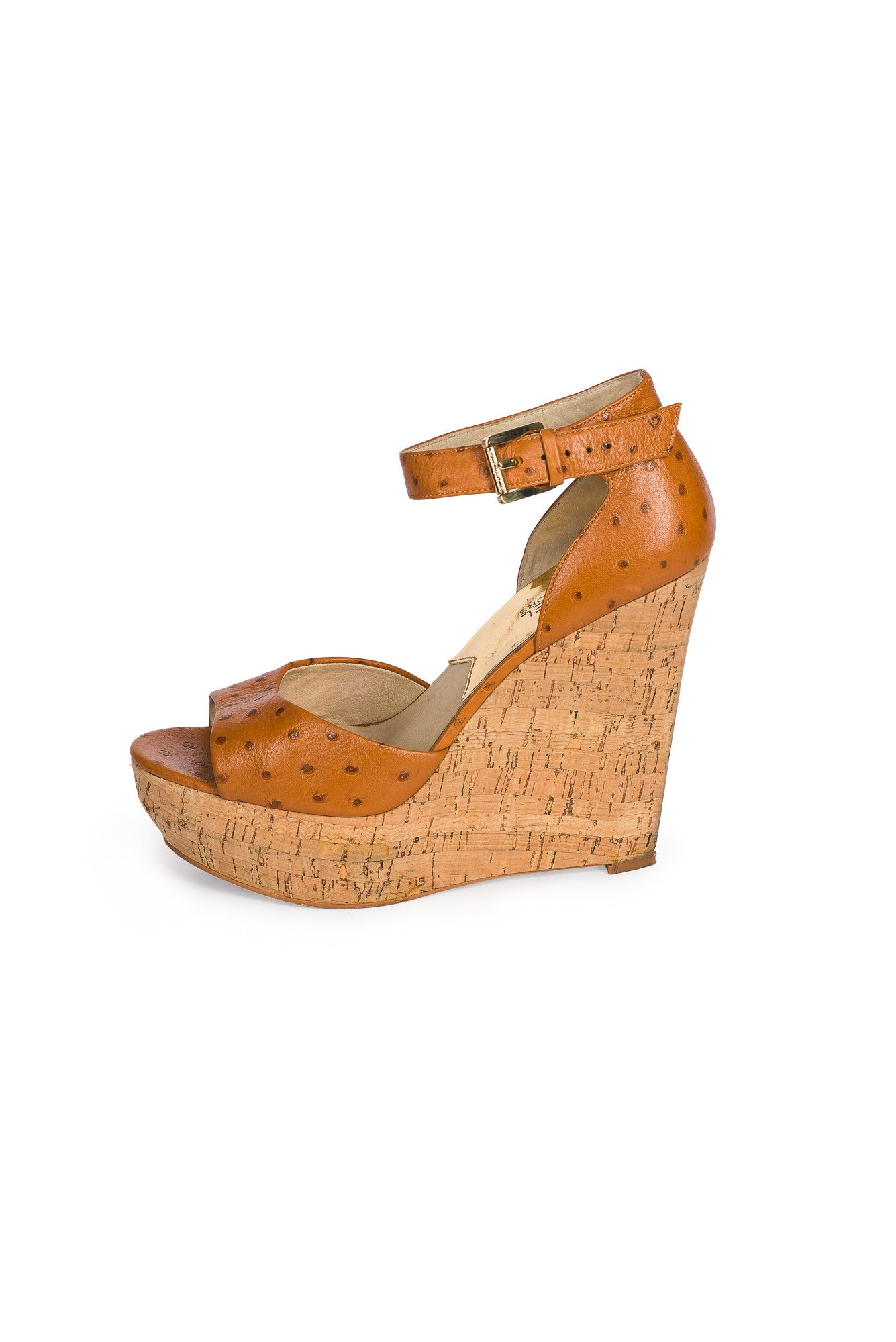 MICHAEL KORS Ostrich Print Leather Wedge Sandal