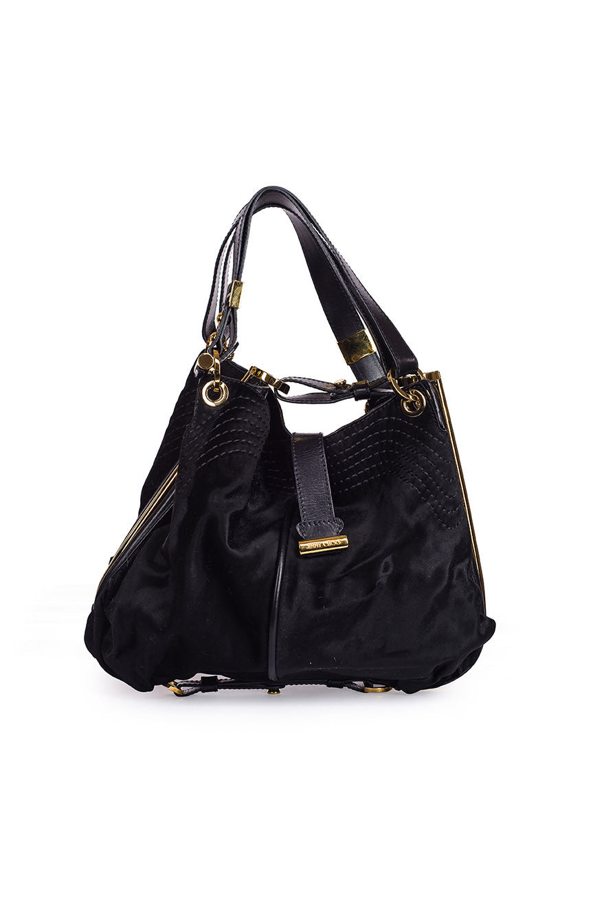 JIMMY CHOO Rare Black Pony Calf Hair, Gold Frame Shoulder Bag