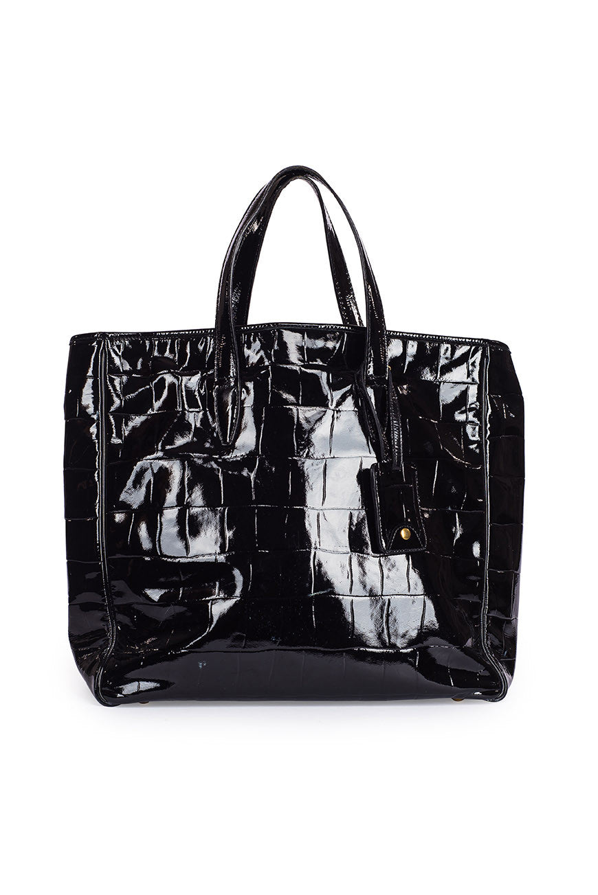 "YVES SAINT LAURENT Patent Leather Tote ""Rive Gauche"""
