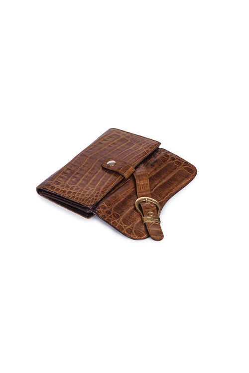 CHRISTIAN DIOR Crocodile Gaucho Wallet
