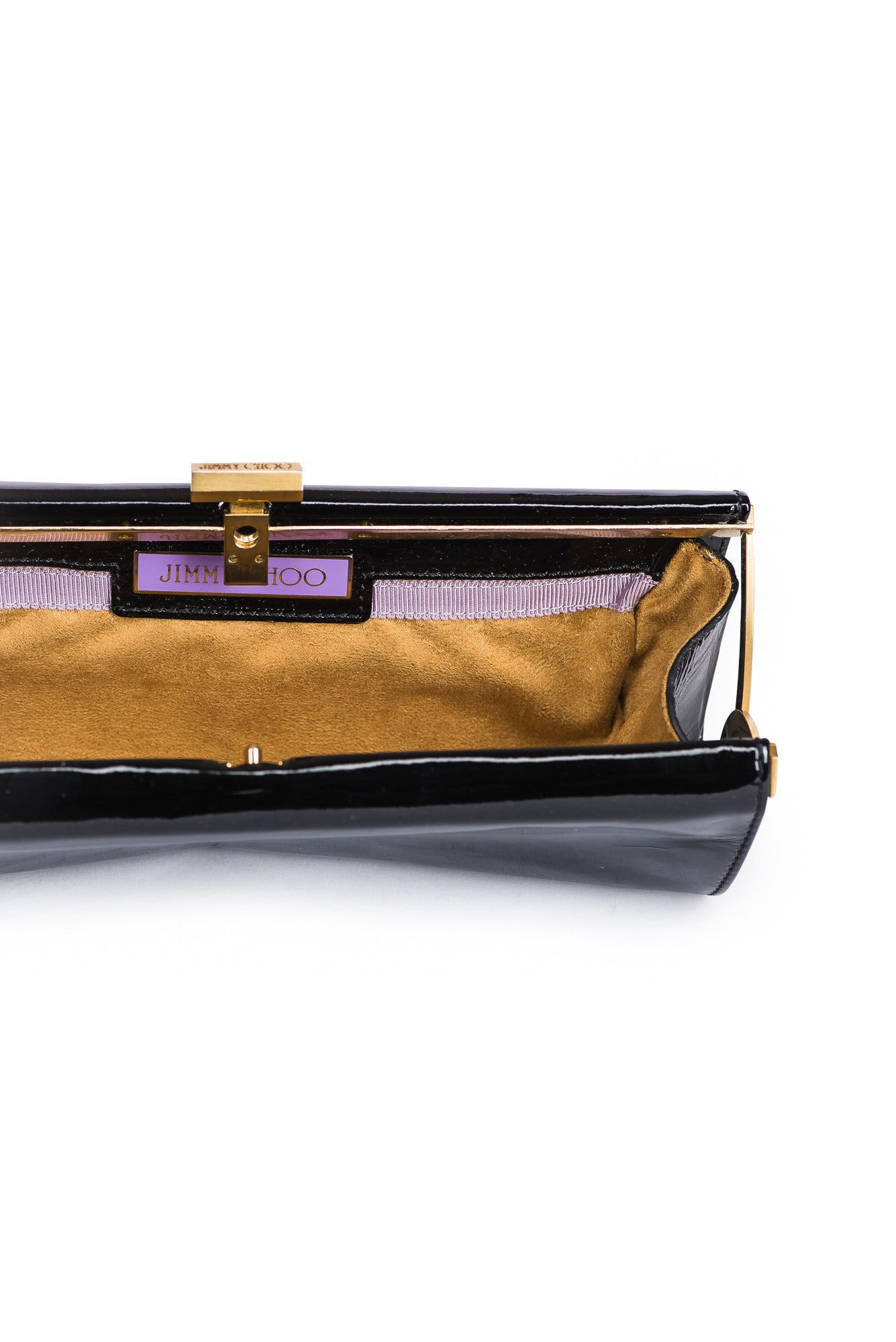 JIMMY CHOO Patent Leather Hinge Clutch