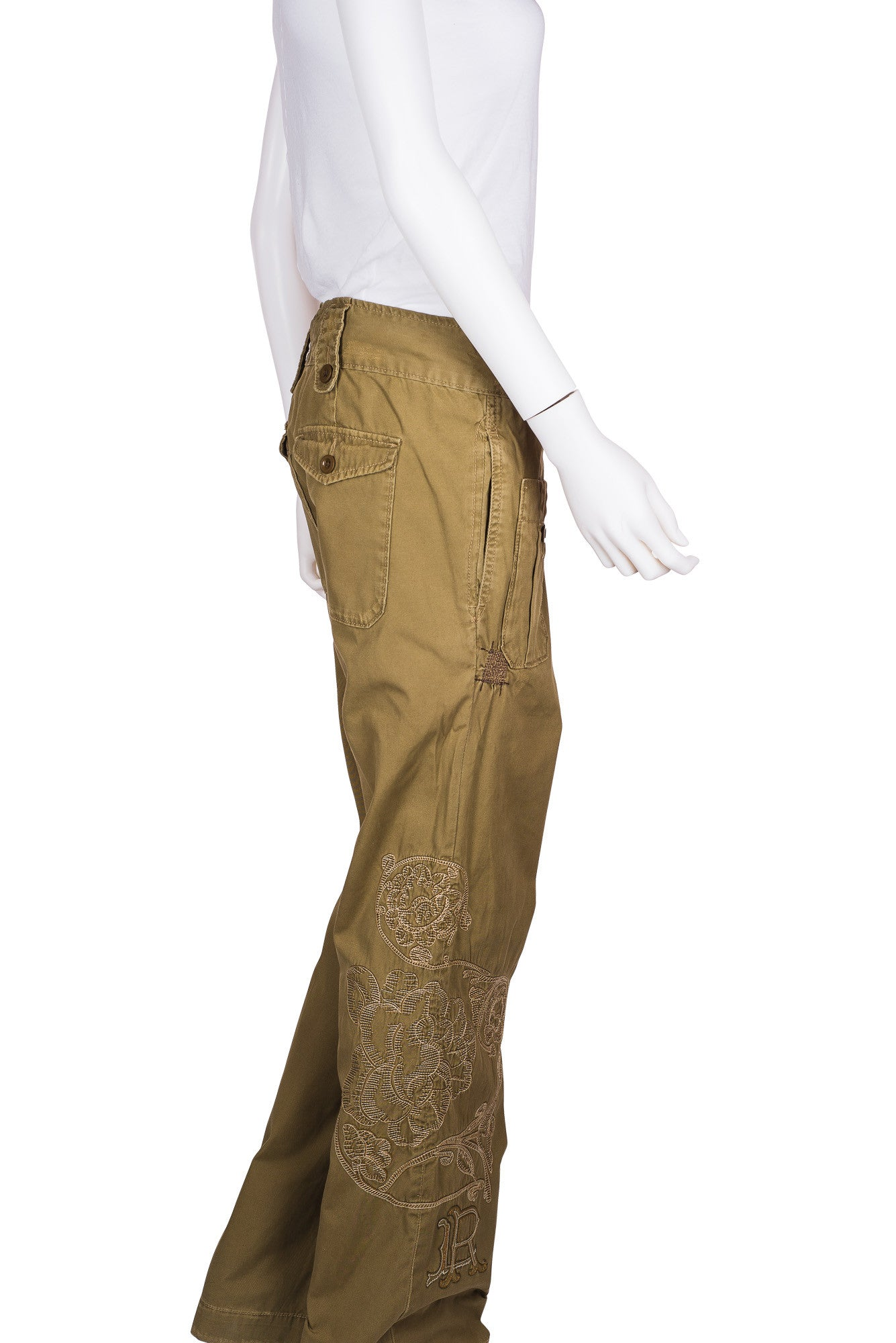 RALPH LAUREN Distressed Embroidered Cargo Pants