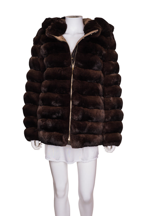 LORO PIANA Chinchilla Fur Jacket With A Hood