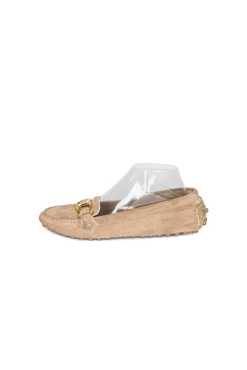 LOUIS VUITTON Logo Suede Loafers