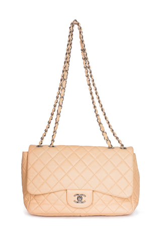 CHANEL Jumbo Quilted Chain Around Hobo Tote Shoulder Bag